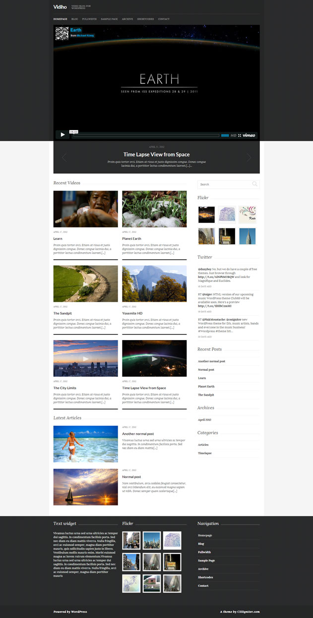 Vidiho Video Blog WordPress Theme